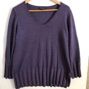 Eileen Fisher Soft Merino Wool V Neck Sweater L